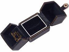 Vintage Black Leather Ring Box Velvet Silk LIned signed Diamond Shaw Ca