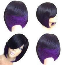 Women's Fashion Short Side Bang Feathered Straight Bob Synthetic Wig Chrimas Hot