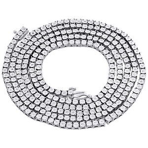 "Mens 1 Row Necklace Genuine Diamond Link Choker Chain 20"" Sterling Silver 0.60 C"