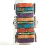 925 STERLING SILVER RECTANGLE DESIGN SPINY OYSTER OPAL TURQUOISE SIZE 7 RING