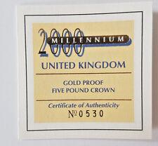 2000 5 Sterline in oro proof Cinque sterline oro corona MILLENIUM COA solo