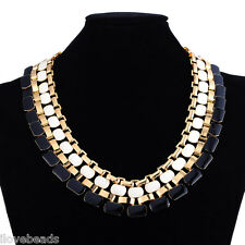 1PC New Fashion Gold Plated Black Choker Chunky Statement Bib Necklace 40.5cm