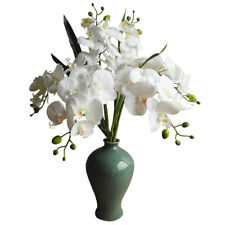 10 Pcs Artificial Real Touch Latex Phalaenopsis Orchid Stem Bouquets (White)