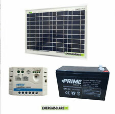 Kit Solare Fotovoltaico 10W 12V Batteria 7Ah AGM Regolatore PWM 5A  casa, baita,