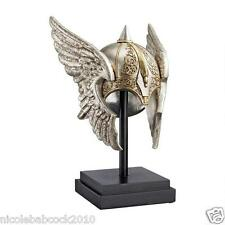 MYTHICAL FANTASY ART NORSE DIETY VALKYRIE SCULPTURED WINGED HELMET ON MUSE BASE