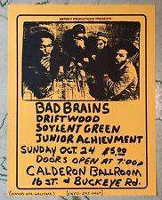 ORIGINAL Punk Concert Flyer BAD BRAINS Calderon Ballroom October 1982 Phoenix