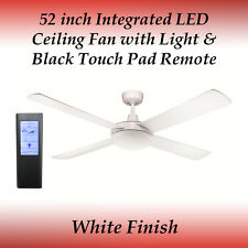 52 inch 4 Blade White LED Ceiling Fan with 24 Watt Light and Black Touch Remote