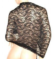 Étole femme châle noir écharpe dentelle brodée foulard élégant cérémonie E60