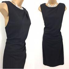 Mango Vestido Talla XL 14 Negro Elastizado trabajo empresarial. ocasión noche C971