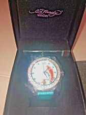 NEW IN BOX Ed Hardy Unisex Koi Fish Teal Band Bling Watch Very Limited