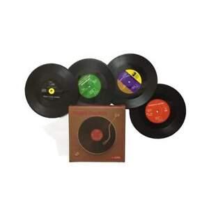 4pcs Drinks Vinyl Records Coaster Set Novelty Table Bar Garden Party Mat Retro