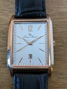 Lucien Piccard Men's Rectangle Rose Gold Dress Watch w/ Date Sapphitek Crystal