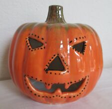 "Halloween 9"" Jack O Lantern Pumpkin Tea Light Candle Holder"