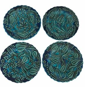 Turkish Hand Made Plates Decorative Hand Painted Blue Ceramic Lead Free Set of 4