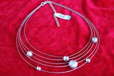 EQUIP 5 Strand Orb Satelite Necklace extend 7cm Silvertone Med Clasp (B234)