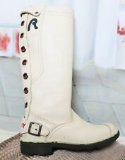 Weiße Replay Black Runner Label Echt Leder Sommer Stiefel Boots Ecru 36 Uk 3