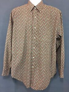 Men's AUSTIN REED Long Sleeve Cotton Floral Button Up Shirt LARGE Brown