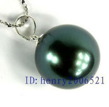 Bar style exaggerated big 20mm sea black blue shell pearl pendant chain