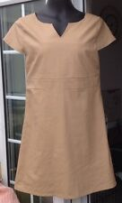E-VIE TAN SHORT SLEEVED LEATHER STYLE OUTER LINED SHORT DRESS - SIZE 12