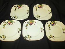 MEITO HAND PAINTED JAPANESE  SET  OF 5 TEA PLATES ART DECO PERIOD