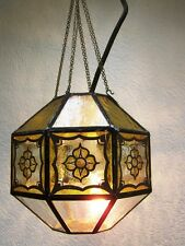 Vecchio Lampada sospensione, 50er Anni lampada, Vetro piombato per Baldacchino