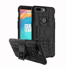 for One Plus 5t Case Shockproof Armor Hybrid Kickstand Protective Phone Cover Black