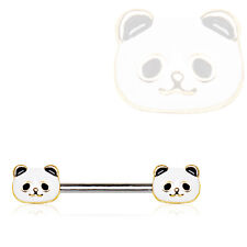 Panda Face Nipple Bar Gold Plated Trim Stainless Steel 14g Body Jewlery