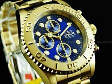 NIB Invicta Men's 44mm Pro Diver Chronograph 18K Gold Plated Blue Dial SS Watch