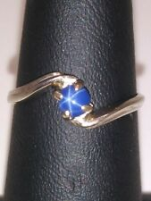 10kt White Gold 4mm Round Lindy Blue Star Sapphire Cabochon Ring Size 5