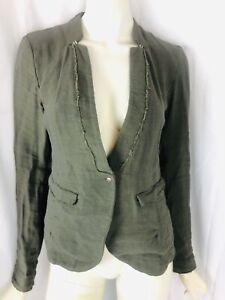Transit Par-Such size small khaki green linen blend jacket blazer