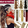 Real Silky Wavy Straight Drawstring Ponytail Clip in Fake remy Hair Extension JT