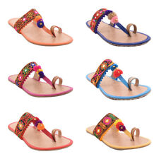 Indian Women's Handmade Traditional Flats Sandal Handmade Ethnic Casual Slippers