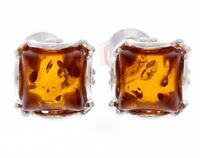 CERTIFIED 925 Sterling Silver Designer Square Baltic Amber Studs Earrings K003