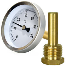 """DIAL Thermometer 1/2"""" Boiler Back Entry Oven Stove Furnace 120°C thread screw in"""