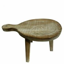 Heaven Sends Carved Top Stool Racket Wooden Table Side Wooden Lamp Plant Stand