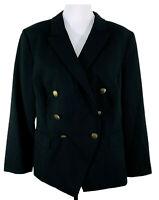 Tahari ASL Women Jacket Blazer Black Plus Sz 14W Military Style Lined Mint