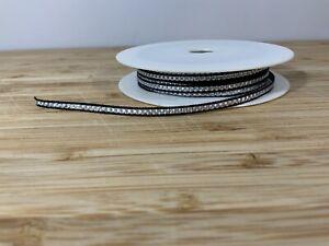 Thin Black Silver Christmas Ribbon 4mm Xmas 2 Meter Craft Card Cake Hamper Bday