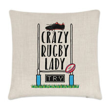 Crazy Rugby Lady Linen Cushion Cover Pillow - Funny League Union Sport