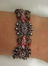 Ayala Bar Bracelet Handmade Israel, Fabric with swarovski crystals and beads