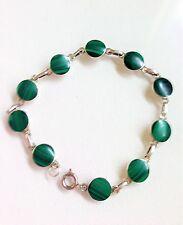 "Vintage Looks New Sterling Silver Green Malachite Gem Link Bracelet 7"" 7.3g B24"