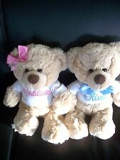 Personalised Teddy Bear Gift Any Name 26cm  Pink OR Blue embroidery Baby Twins