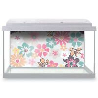 Fish Tank Background 90x45cm - Pink Flowers Floral Pattern  #14454