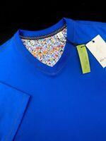 Robert Graham V Neck Short Sleeve T-Shirt Men Blue Classic Fit Mens Sizes L-2XL