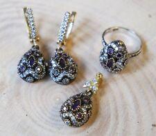 Türkische Handarbeit Sterling Silber 925 Amethyst Set Ring Ohrring 6 7 8 9