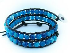 2 Wrap Bracelet with 6mm BLUE AGATE beads Real brown leather  fashion bracelet