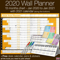 2020 Year Planner Wall Chart ✔Staff ✔Holidays+Stickers+Pens+Desk Calendar✔ORANGE