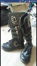 Demonia Vegan Black Buckle Brass Knuckle 20i Combat Boots Rocker Punk Womens 6-7