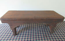 Antique Foot Stool Stand Primitive Pine Wood, Square Nails, Old Brown Paint