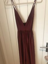 Urban Outfitters Red Wide Leg Plunge Neck Jumpsuit Size S
