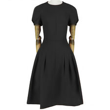 Valentino Elegant Jet Black Tailored-Fit Pintuck Inverted Pleat Dress IT42 UK10